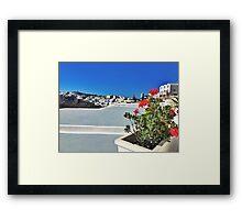 Santorini Floral  Framed Print