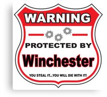 Winchester Protected by Winchester Canvas Print