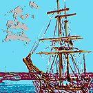 tall ship lithograph Tasmania by Mark Malinowski