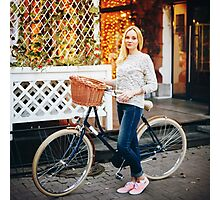Young stylish woman on a vintage bicycle Photographic Print