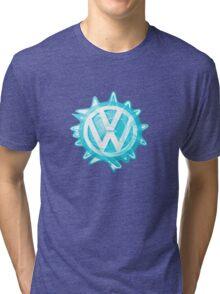 Aqua-blue VW look-a-like Swirl Tri-blend T-Shirt