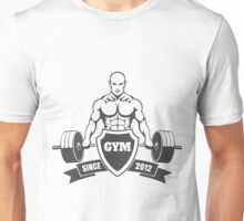 Gym emblem with training bodybuilder Unisex T-Shirt