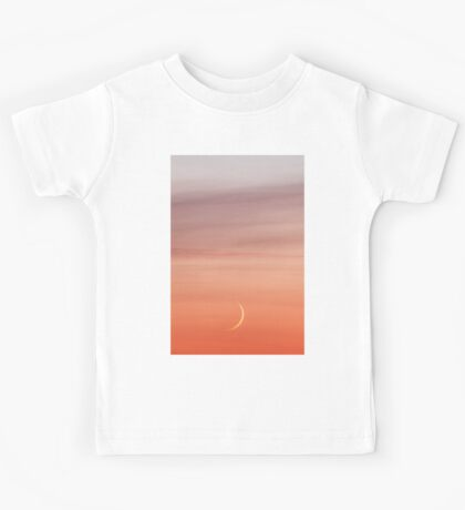 Moon crescent and sunset sky Kids Tee