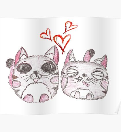 Cute love kittens. Illustration of colorful pencils. Poster