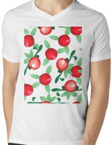 Watercolor seamless pattern. Cranberries. Mens V-Neck T-Shirt