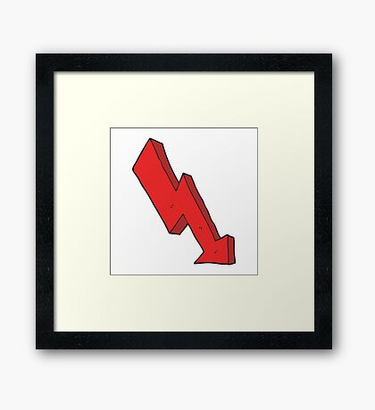 cartoon arrow down trend Framed Print