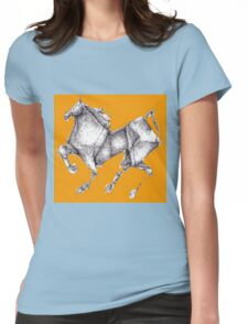 Orange Origami Horse Womens Fitted T-Shirt