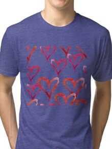 Hand drawn watercolor seamless pattern. Red hearts. Tri-blend T-Shirt