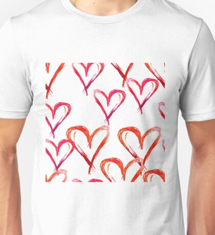 Hand drawn watercolor seamless pattern. Red hearts. Unisex T-Shirt