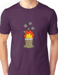 cartoon burning tree stump Unisex T-Shirt