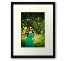 Beautiful red hair girl with deep green eyes Framed Print