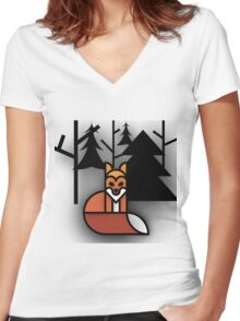 Fox in the Shadowy woods.  Women's Fitted V-Neck T-Shirt