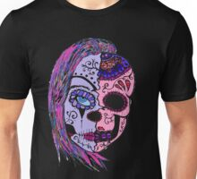 half skull woman in colors Unisex T-Shirt