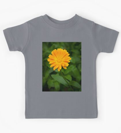 Yellow flower and green leaves Kids Tee