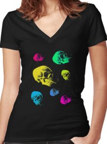 Vang gogh skull with burning cigarette remixed dear Women's Fitted V-Neck T-Shirt