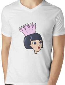 cartoon woman wearing paper crown Mens V-Neck T-Shirt