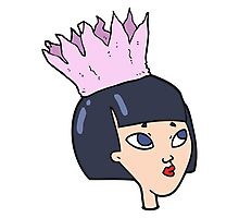 cartoon woman wearing paper crown Photographic Print