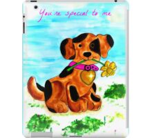 Cute little dog bringing a flower iPad Case/Skin