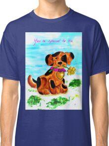 Cute little dog bringing a flower Classic T-Shirt