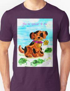 Cute little dog bringing a flower T-Shirt
