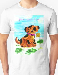 Cute little dog bringing a flower Unisex T-Shirt