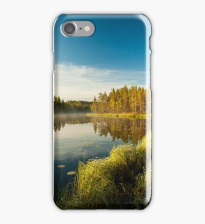 Morning at forest lake iPhone Case/Skin