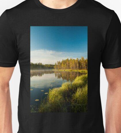 Morning at forest lake Unisex T-Shirt