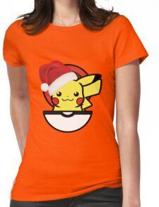 Festive Christmas Pikachu  Womens Fitted T-Shirt