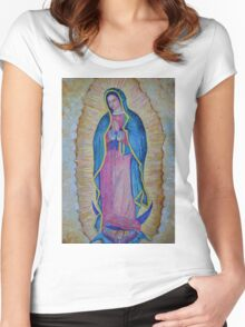 Our Lady of Guadalupe painting, Virgin of Guadalupe picture Virgin Mary print Black Madonna Mexico Women's Fitted Scoop T-Shirt