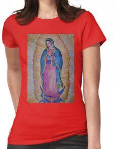 Our Lady of Guadalupe painting, Virgin of Guadalupe picture Virgin Mary print Black Madonna Mexico Womens Fitted T-Shirt