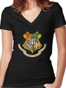 hogwarts coat of arms black Women's Fitted V-Neck T-Shirt