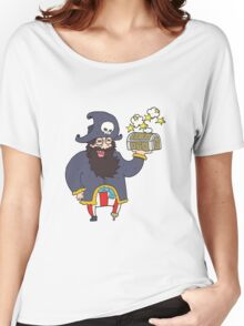cartoon pirate captain with treasure chest Women's Relaxed Fit T-Shirt