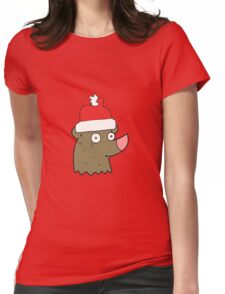 cartoon bear wearing christmas hat Womens Fitted T-Shirt