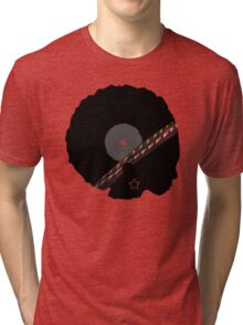 Afro Vinyl Record - African Woman Tri-blend T-Shirt