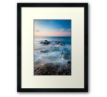 Waves and rocks long exposure Framed Print