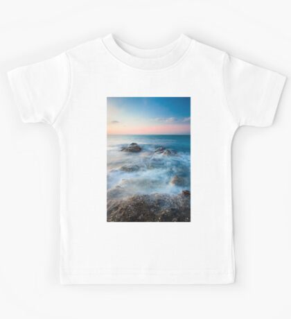 Waves and rocks long exposure Kids Tee