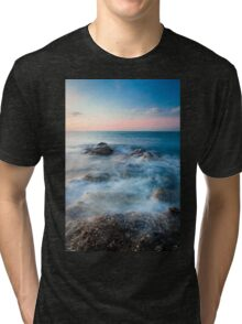 Waves and rocks long exposure Tri-blend T-Shirt