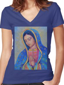 Our Lady of Guadalupe for sale, Vergin de Guadalupe, Virgin Mary Madonna Women's Fitted V-Neck T-Shirt