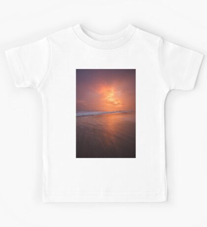 Sunset clouds and long wave Kids Tee