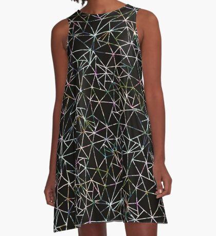 Black Geometric Triangle Pattern Bold Modern A-Line Dress
