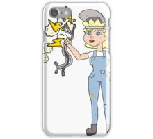 cartoon electrician woman iPhone Case/Skin