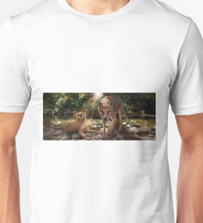Tasmanian tigers (Thylacines) mother & pup Unisex T-Shirt