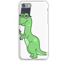 cartoon dinosaur wearing top hat iPhone Case/Skin