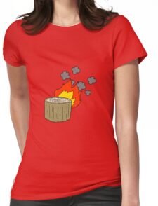 cartoon burning log Womens Fitted T-Shirt