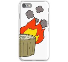 cartoon burning log iPhone Case/Skin