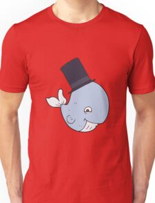 cartoon whale in top hat Unisex T-Shirt