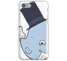 cartoon whale in top hat iPhone Case/Skin