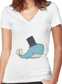 cartoon whale in top hat Women's Fitted V-Neck T-Shirt