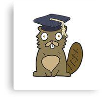 cartoon beaver graduate Canvas Print