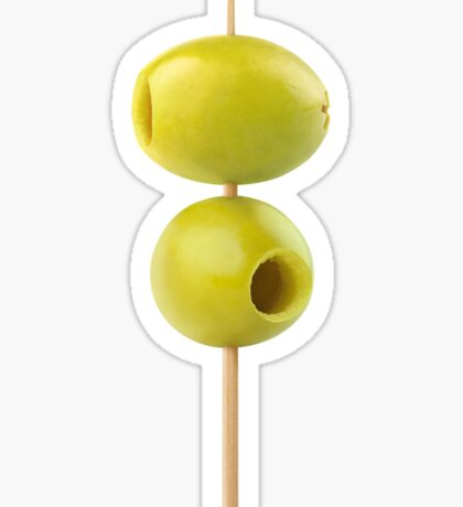 Pitted green olives on a skewer Sticker